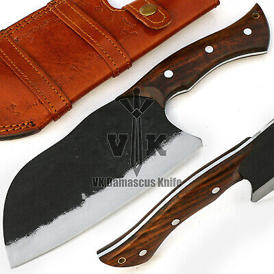 Handmade Forged Carbon Steel Chef Cleaver Knife Rose Wood Handle VK5511