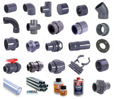 50mm OD Pressure Pipe and Fittings Metric Solvent Weld Grey PVC WRAS Approved
