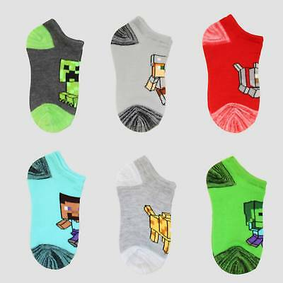 Boys' Minecraft 6pk Socks - Charcoal Heather