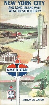1964 AMERICAN OIL Road Map NEW YORK CITY Long Island Westchester County Bronx