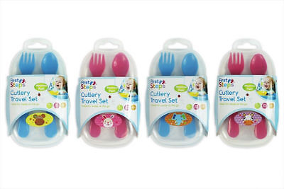 Baby Toddler Travel Cutlery Set Fork & Spoon With Case Jungle Pals BPA Free 6m+
