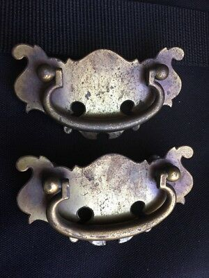 Vintage Brass Chippendale Drawer Pulls Patina dresser chesr handles