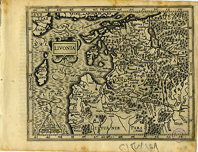 1607 Genuine Antique map Estonia. Latvia. Livonia. Baltic Sea. Mercator/Hondius