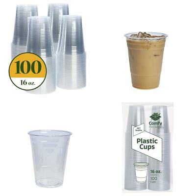 Plastic Cups Crystal Clear Pet [100 Pack] (16 Oz)