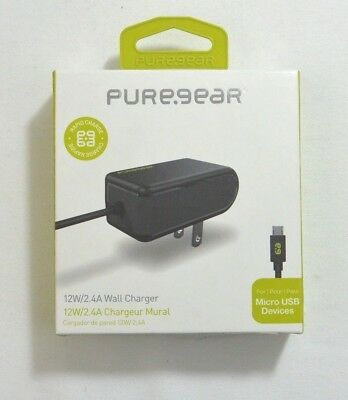 New OEM PureGear 12W/2.4A Wall/Home Charger For Micro USB Devices