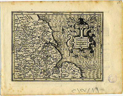 1607 Genuine Antique map of England. Scarbrough. Nottingham. by Mercator/Hondius