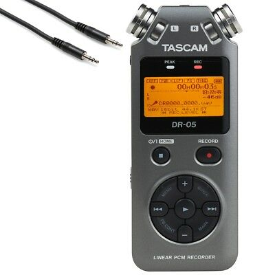 Tascam DR-05 2 PCM Portable Handheld Digital Recorder Grey w/ 3.5mm Stereo Cable