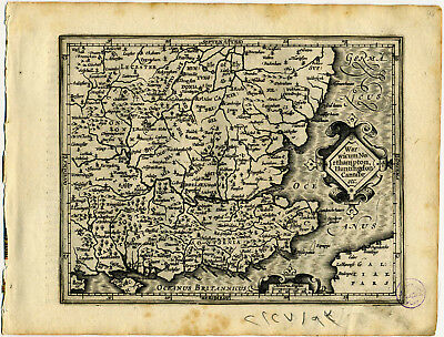 1607 Genuine Antique map of SE England. London. Portsmouth. by Mercator/Hondius