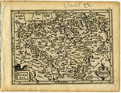1607 Genuine Antique map of Bohemia. Czechoslavakia. Prague. by Mercator/Hondius