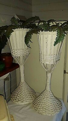 Vintage antique tall white wicker plant basket furniture
