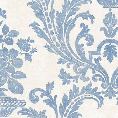Distressed Damask Wallpaper SD36153 Victorian blue classic prepasted