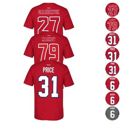 Montreal Canadiens NHL Reebok Player Name & Number Premier Jersey T-Shirt Men's