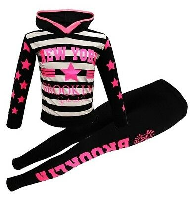 Girls Brooklyn Striped Black Pink Top & Leggings Outfit Set Tracksuit Age 5-13