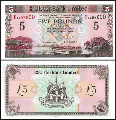 Northern Ireland 5 Pounds Banknote, 2013, P-340b, UNC