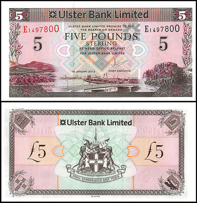 Northern Ireland 5 Pounds Banknote, 2013, P-NEW, UNC