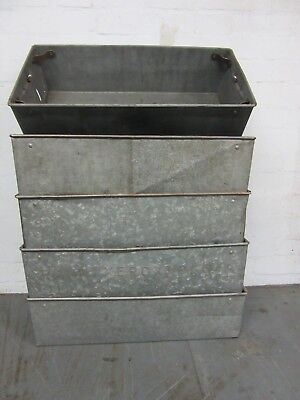 5 X Large Heavy Duty Industrial Metal Tote Storage Boxes / Containers Galvanised
