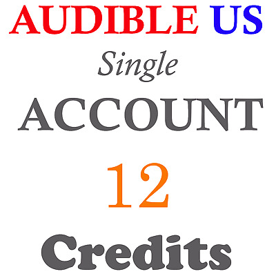NEW Audible ACCOUNT with 12 credits prefilled for US region