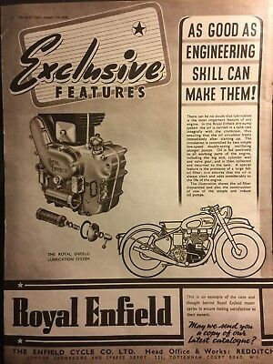 ROYAL ENFIELD lube system / ORIGINAL VINTAGE 1949 MOTORCYCLE SALES ADVERT