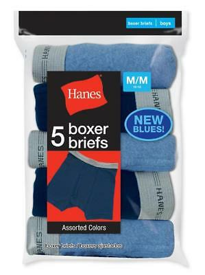 Hanes Boy's 5 Pack Soft Tagless Boxer Briefs Blue Colors Size L (14/16) New!