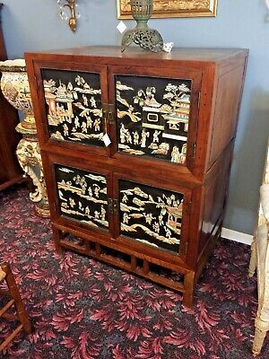 Chinese Elm Stacked Cabinet Chest on Frame with Stone High Relief Door Panels