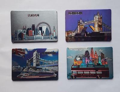 4 x Souvenir Famous London Landmarks 3D Effect Metallic  Fridge Magnets
