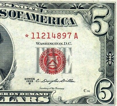 1953-B $5 US Note (( STAR )) *** Bloody Red Seal *** # *11214897A