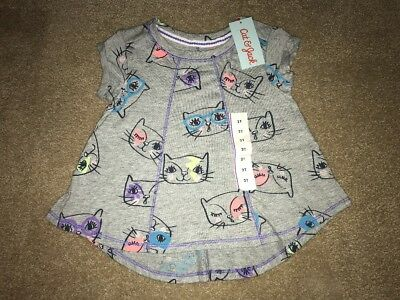 Cat & Jack Toddler Girls Solid Cat T Shirt Heather Gray 2T