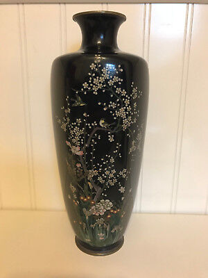 Vintage Possibly Antique Japanese Cloisonne Vase w/ Birds on a Tree