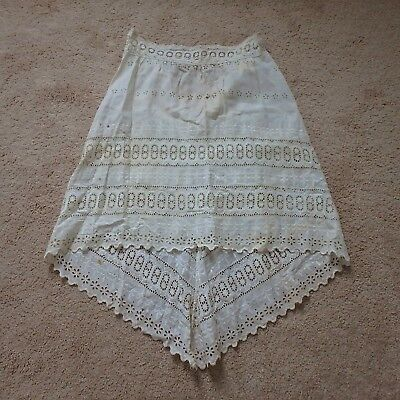 Antique Vtg Primitive Eyelet Petticoat w/ Long Tail Back