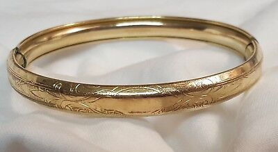 Mh & Co 1913 Gold Filled Floral Etched Bangle