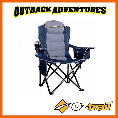 Oztrail Big Boy Camping Arm Chair Strong 220Kg Weight Rating Large Rated Blue