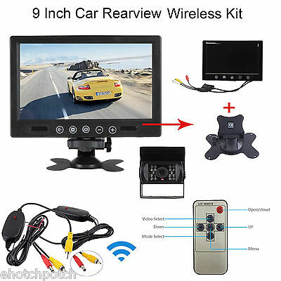 "Wireless Rear View Backup Camera Night Vision + 9"" LCD Monitor for RV Truck Kit"