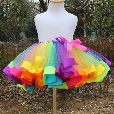 US Kids Girls Rainbow Tutu Skirt Tulle Fluffy Princess Dance Dress Party Costume