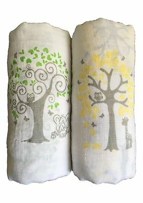 "Muslin Swaddle Blankets 2 Pack - Seben Baby - 47"" x 47"" - Tree Elephant and Deer"