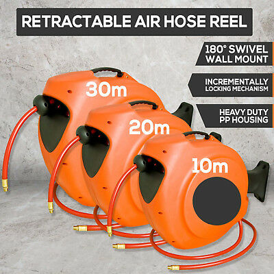 NEW 30/20/10m Retractable Air Hose Reel  Auto Rewind Wall Mounted Compressor