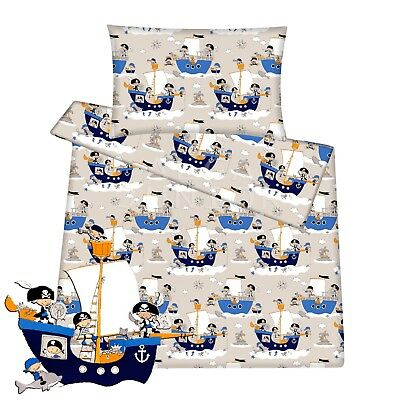 Baby toddler cot cot bed set duvet cover pillowcase 100% cotton Pirate