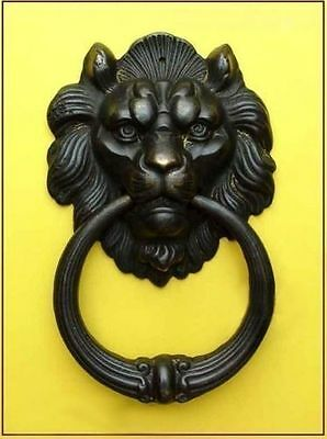 Rare Chinese Old Bronze Fierce Lion Head Door Knocker 7inch