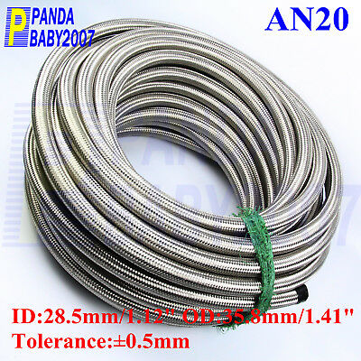 1M/3Ft × An20 -20An 20An -20 Stainless Steel Braided Fuel Hose Radiator Oil Line