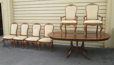 "57407  7 PC THOMASVILLE Dining Set Table w 6 chairs Table Top 54"" x 86"" w/ leafs"