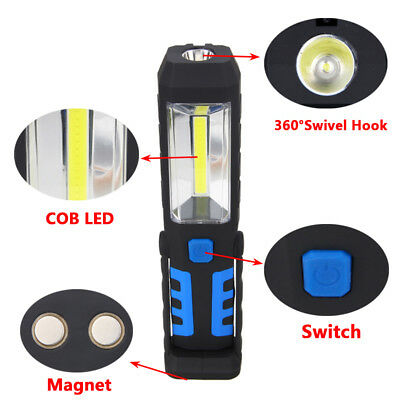 USB Rechargeable 3W COB LED Work Light Camping Lamp Magnetic Flashlight Torch