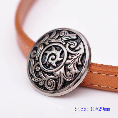 10PC Antique Silver Flower Pattern Engraved Celtic Leathercraft Saddles Conchos
