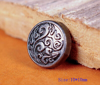 50PC 10MM Silver Floral Engraved Conchos Handcraft Stud Rivet Tacks Decorative