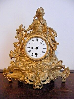 A 19th c ORNATE FRENCH GILT METAL ORMALU MANTEL CLOCK WITH KEY WORKING