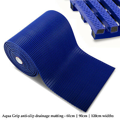 Anti-Slip Matting Flooring Mats Pool Drainage Hygiene Blue Safety Rubber Floor