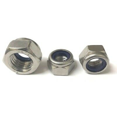 """1/4"""" UNC Nyloc Locking Nuts A2 Stainless Steel Nylon Insert Hex Nut"""