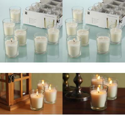 Hosley Set of 48 Unscented Clear Glass Wax Filled Votive Candles 12 H20603C