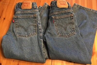 2 Pair Levis 550 Red Tag Kids Boys Girls Jeans Relaxed Denim W22 L22 Sz 8 Slim