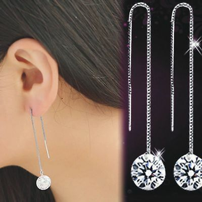 UK Womens Long Earrings 925 Sterling Silver Plated Drop Dangle Chain Round Gift
