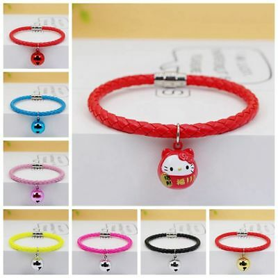 Candy Color Cat Bell Leather Collar Pet Dog Puppy Kitten Cute Loud collar