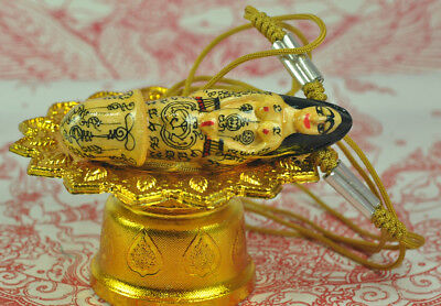 PALADKIK Lady embracing PHALLIC Love Luck wealth Charm Thai Amulet Waist Takrut
